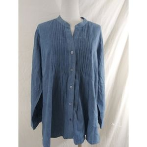 Elementz Women Size XL Chambray Top